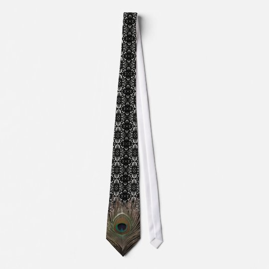 Peacock feather-damask bg tie