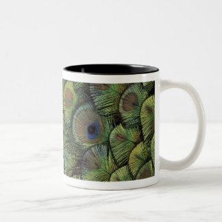 Peacock feather design 2 Two-Tone coffee mug