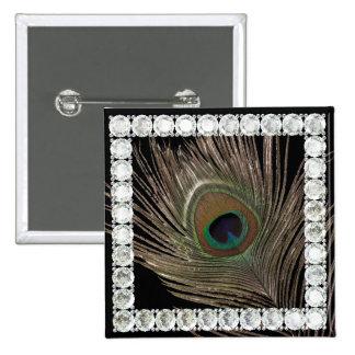 Peacock feather-diamond square 15 cm square badge