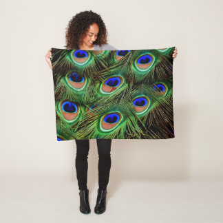 Peacock Feather Display Fleece Blanket