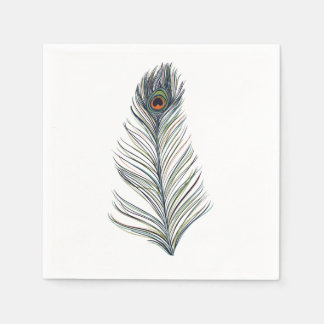 Peacock Feather Disposable Serviettes