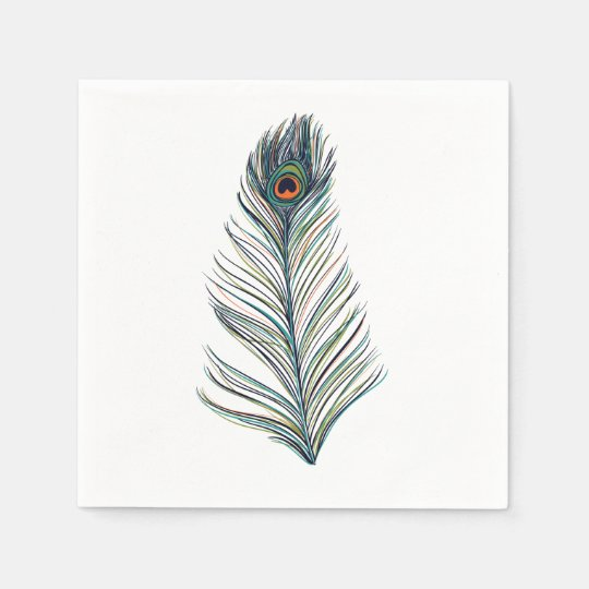 Peacock Feather Disposable Serviettes