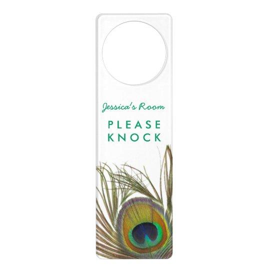 Peacock feather door hanger