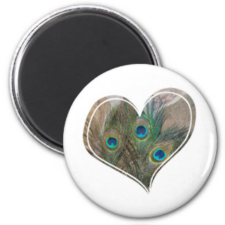 Peacock Feather Double Heart Refrigerator Magnet