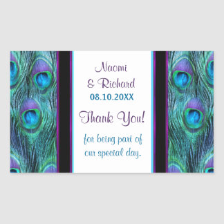 Peacock Feather Drama - Thank You Seal - Customize Stickers