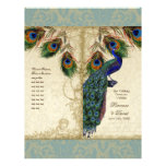 Peacock & Feather Elegant Matching Wedding Program Flyers