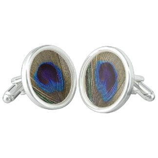 Peacock Feather Eye Wedding Cuff Links