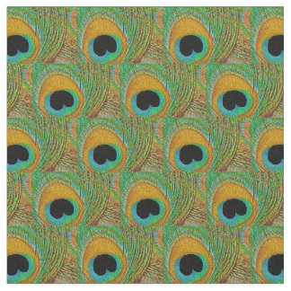Peacock Feather Fabric - Orange Aqua Blue Green