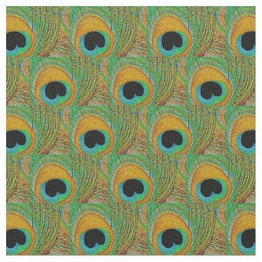Peacock Feather Fabric - Orange Aqua Blue Green