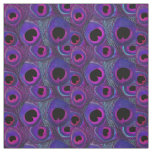 Peacock Feather Fabric Purple Pink Grey Black