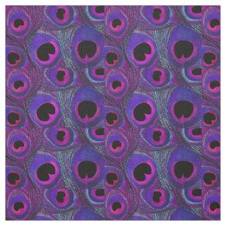 Peacock Feather Fabric Purple Pink Grey Black