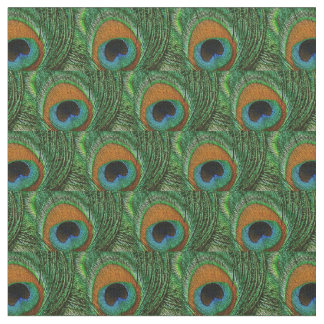 Peacock Feather Fabric - Tan Green Teal Blue Navy