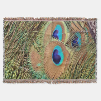 Peacock Feather Face Throw Blanket