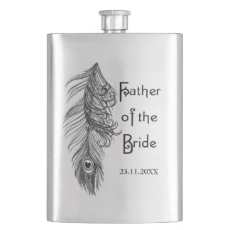 Peacock Feather Father of the Bride Flasks