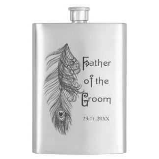 Peacock Feather Father of the Groom Flask
