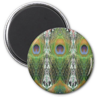 Peacock Feather - Fish Shaped Digitally 6 Cm Round Magnet