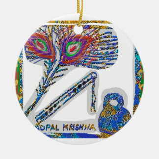 Peacock Feather, Flute and Cottage Cheese 2 Double-Sided Ceramic Round Christmas Ornament