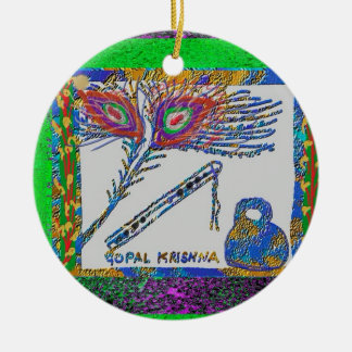 Peacock Feather Flute and Cottage Cheese Ornament