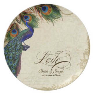 Peacock & Feather Formal Wedding Anniversary Gift Plate