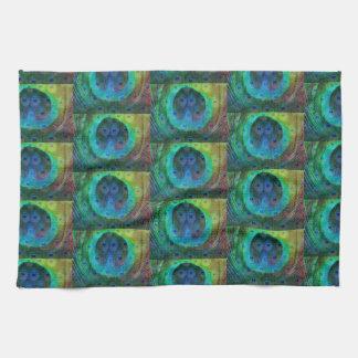 Peacock feather geometric print tea towel