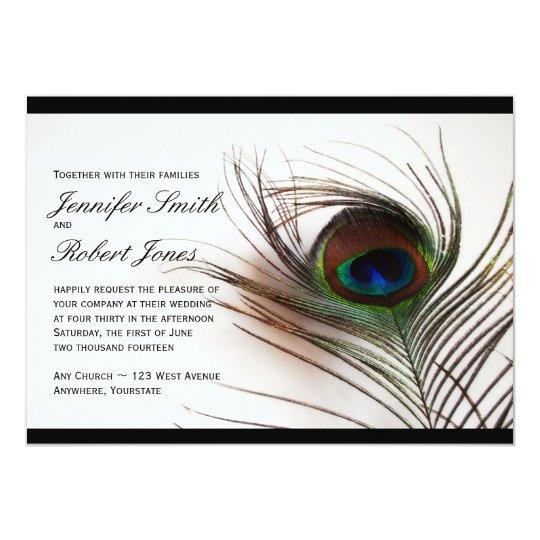 Peacock Feather Glamour Wedding Invitation