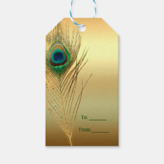 Peacock Feather Gold Exotic Boho Chic Custom Favor Gift Tags