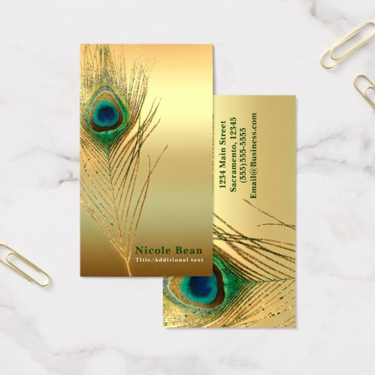 Peacock Feather Gold Exotic Boho Chic Custom Glam