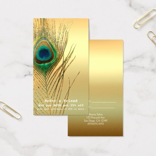 Peacock Feather Gold Exotic Boho Refer A Friend Business Card