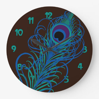 Peacock Feather Graphic Large Clock
