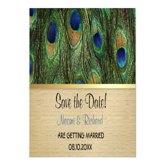Peacock Feather Green - Magnetic Save The Date Magnetic Invitations