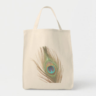 Peacock Feather Grocery Tote Bag