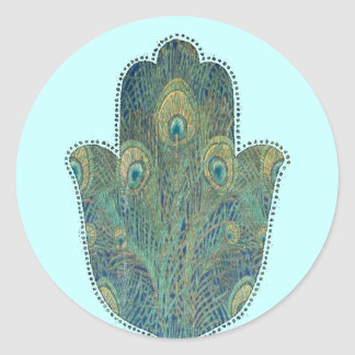 Peacock Feather Hamsa Classic Round Sticker
