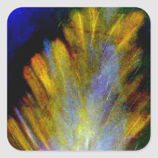 Peacock Feather in rich colorful colors abstract Square Sticker