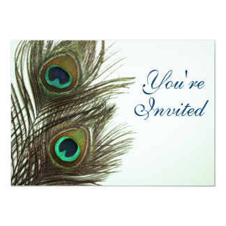 Peacock Feather Invitaiton 13 Cm X 18 Cm Invitation Card