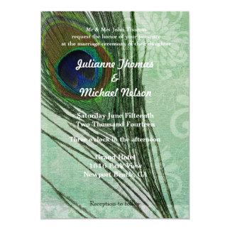 "Peacock Feather 5"" X 7"" Invitation Card"