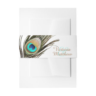 Peacock Feather Invitation Belly Band