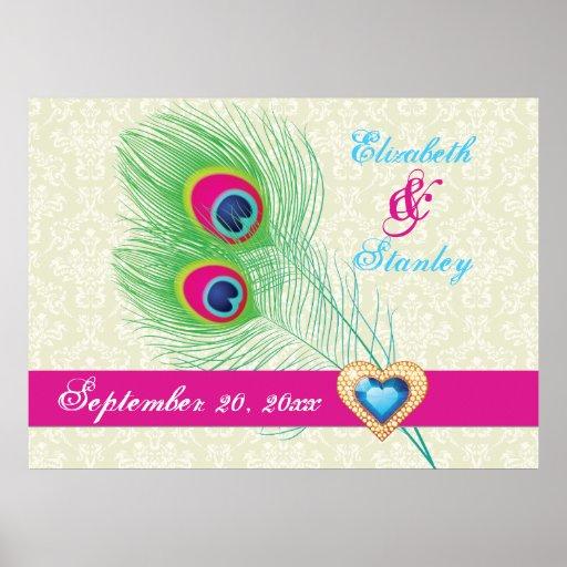 Peacock feather jewel heart wedding anniversary print