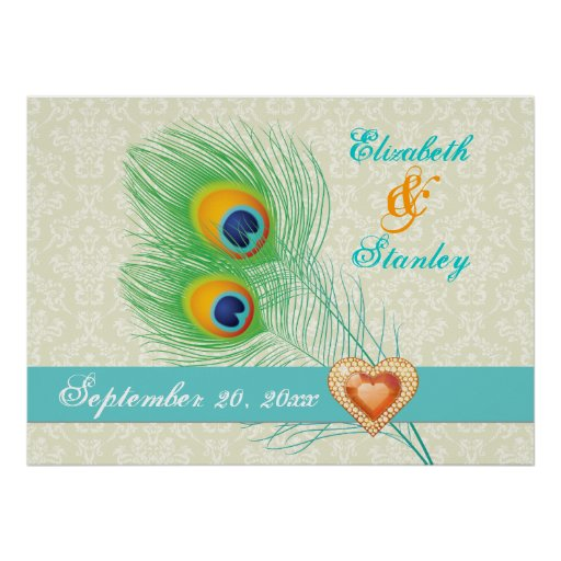 Peacock feather jewel heart wedding anniversary posters
