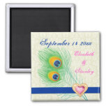 Peacock feather jewel heart wedding Save the Date