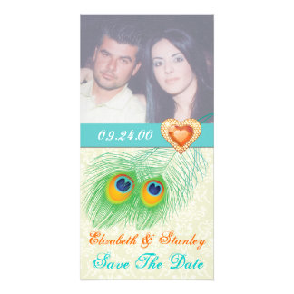 Peacock feather jewel heart wedding Save the Date Picture Card