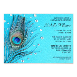 Peacock Feather Jewels Aqua Bridal Shower 13 Cm X 18 Cm Invitation Card
