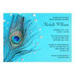 Peacock Feather Jewels Aqua Bridal Shower Announcements