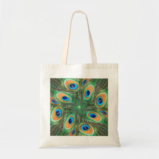 Peacock feather kaleidoscope tote bags
