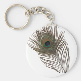 Peacock feather key ring