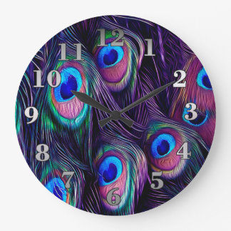 Peacock Feather Large Clock