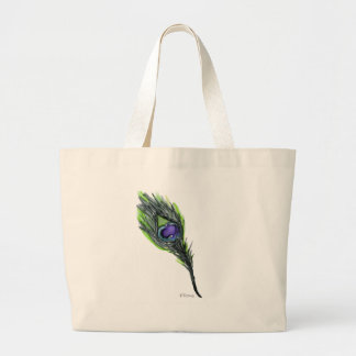 Peacock Feather Large Tote Bag