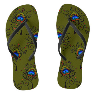 peacock feather Logo olive green background Flip Flops