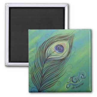 Peacock Feather Love One Another Magnet