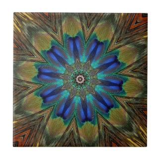 Peacock Feather Mandala Kaleidoscope Tile