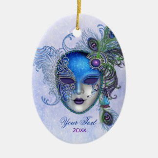 Peacock Feather Masquerade Mask Ceramic Oval Decoration